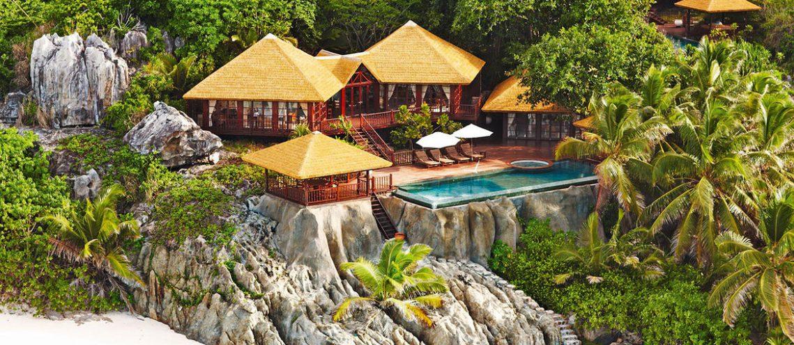 Private Pool Twin Residence auf den Felsen des Fregate Island Private