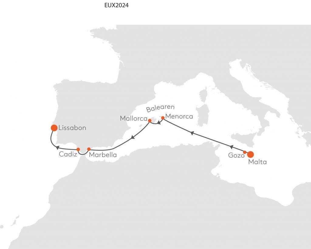 Route Malta Lissabon