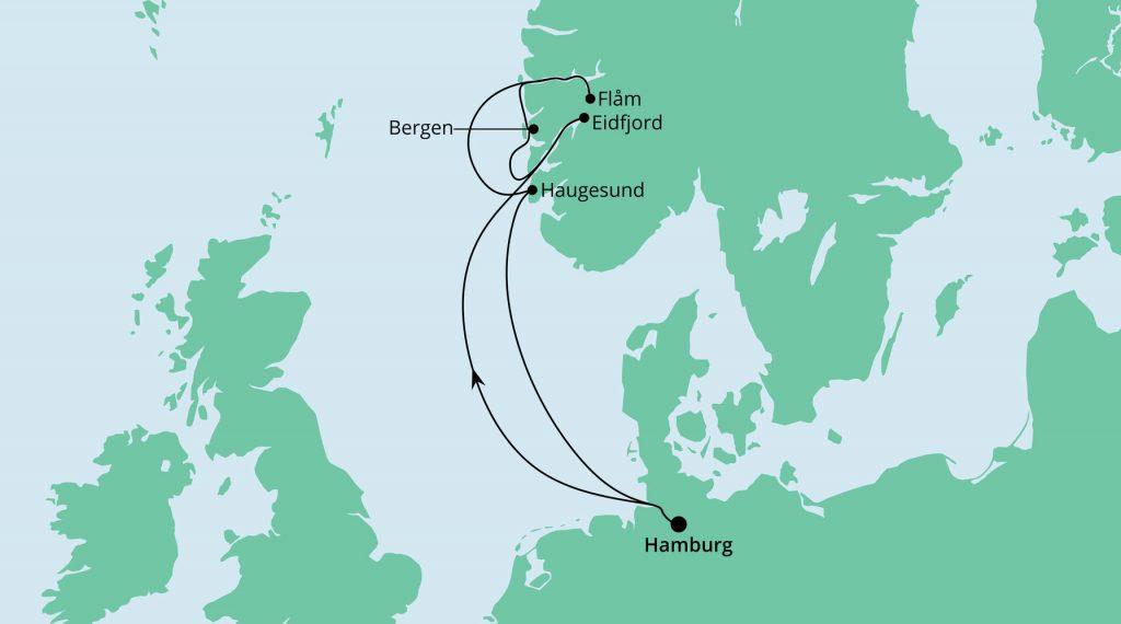 Norwegens Küste ab/bis Hamburg mit AIDA Perla
