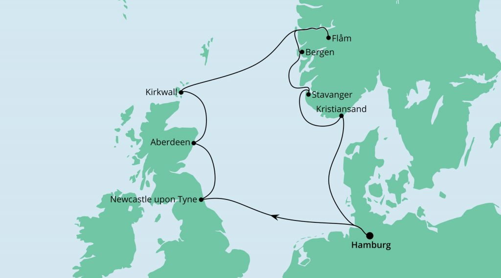 England, Schottland & Norwegen ab/bis Hamburg mit AIDA Sol