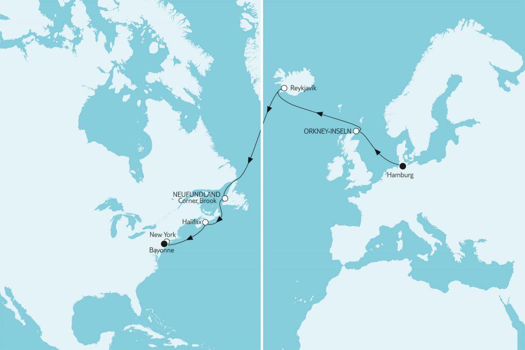 Nordatlantik-Reise Hamburg bis New York über Island & Neufundland
