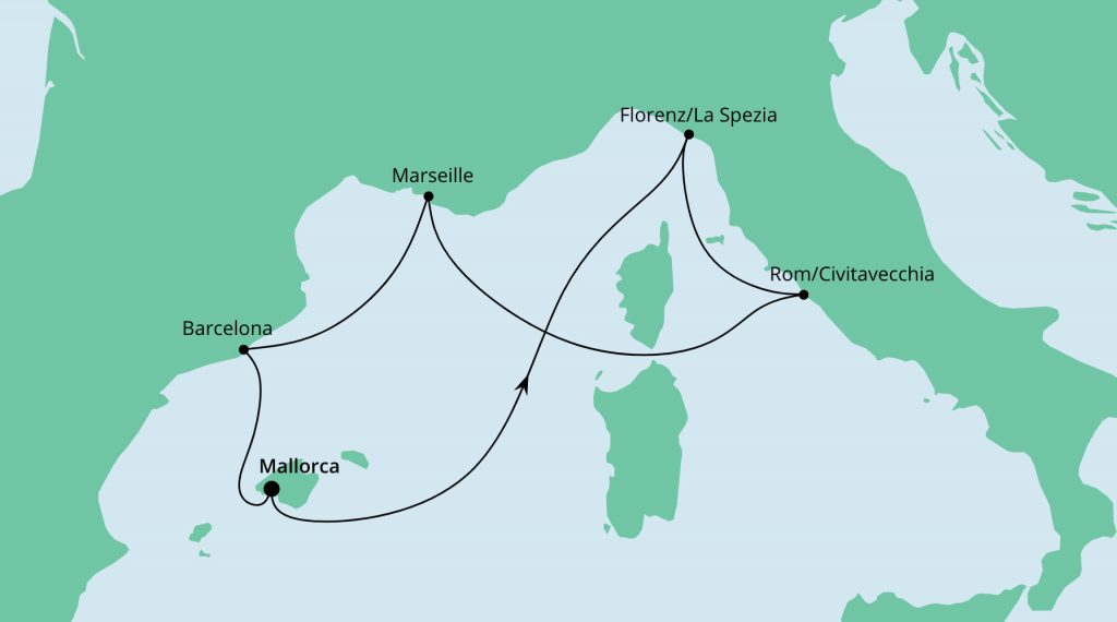 Mediterrane Schätze ab Mallorca inkl. Flug ab/bis Stuttgart mit AIDA Nova