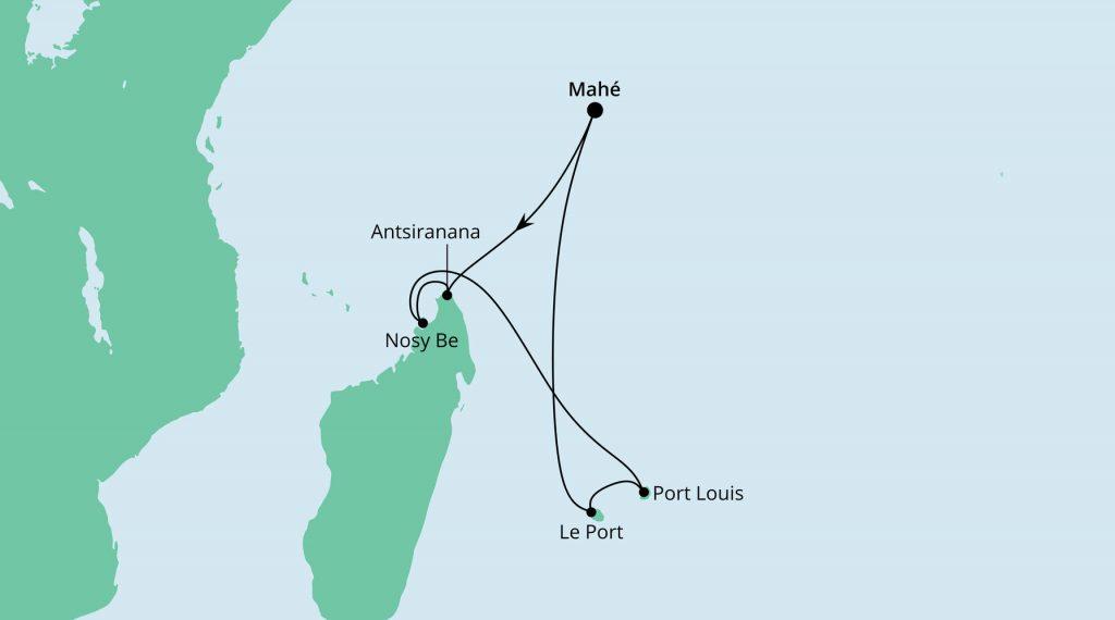 Mauritius, Seychellen & Madagaskar 2 inkl. Flug ab/bis Frankfurt mit AIDA Blu